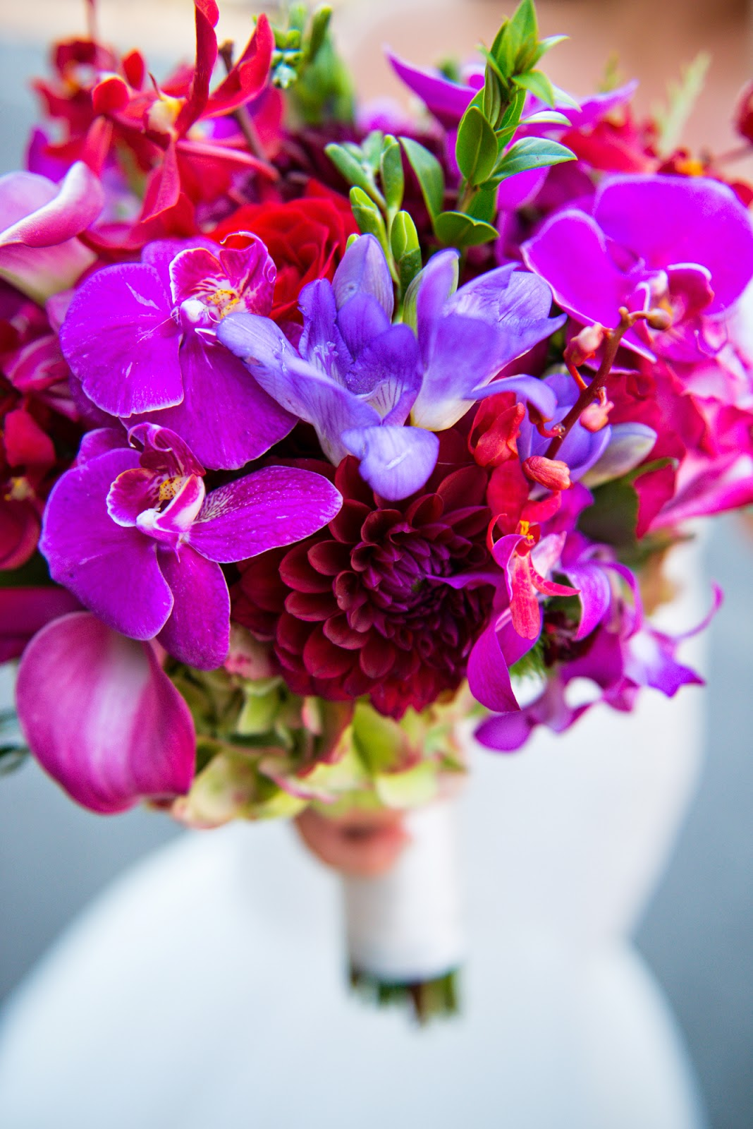 Pink and purple orchid wedding bouquet - cultivatedrambler.com