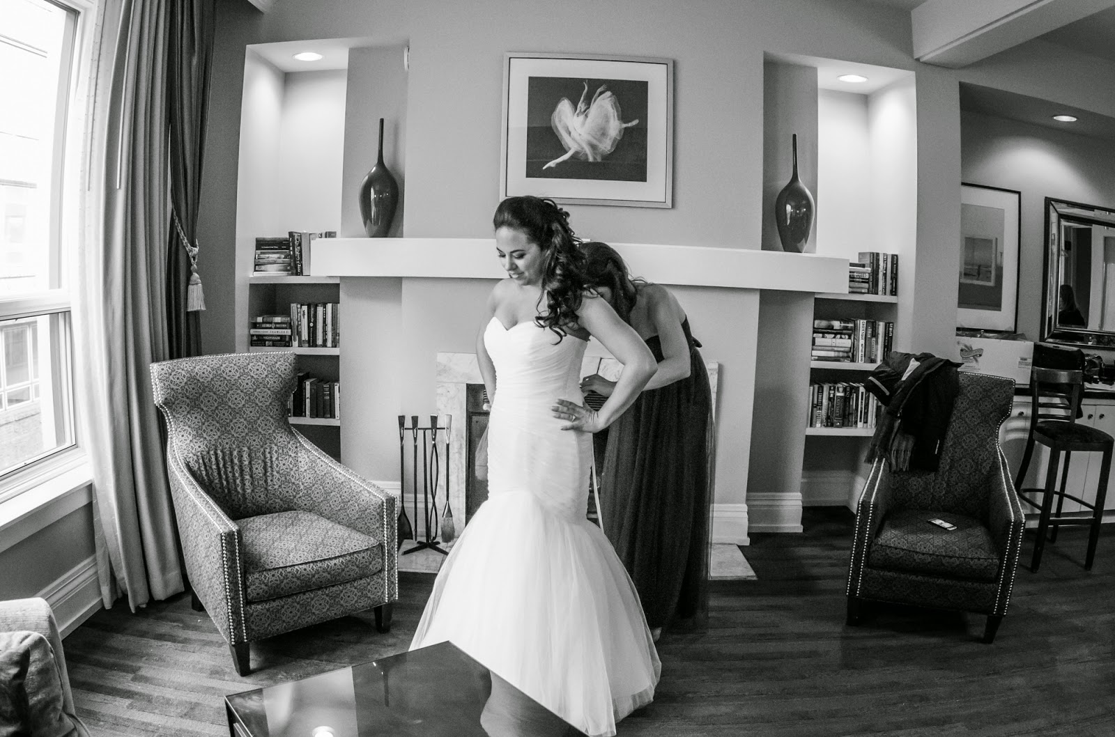 Putting the finishing touches on the wedding dress - cultivatedrambler.com