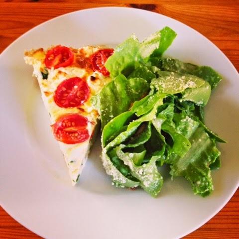 Tomato frittata with spring green salad - cultivatedrambler.com